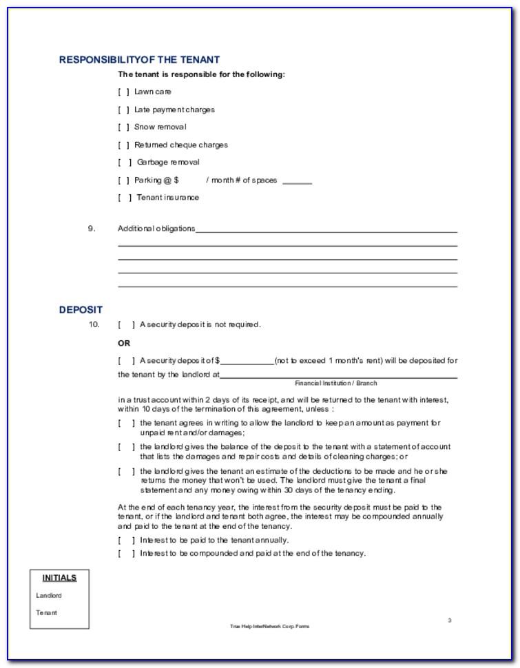 Alberta Room Rental Agreement Form