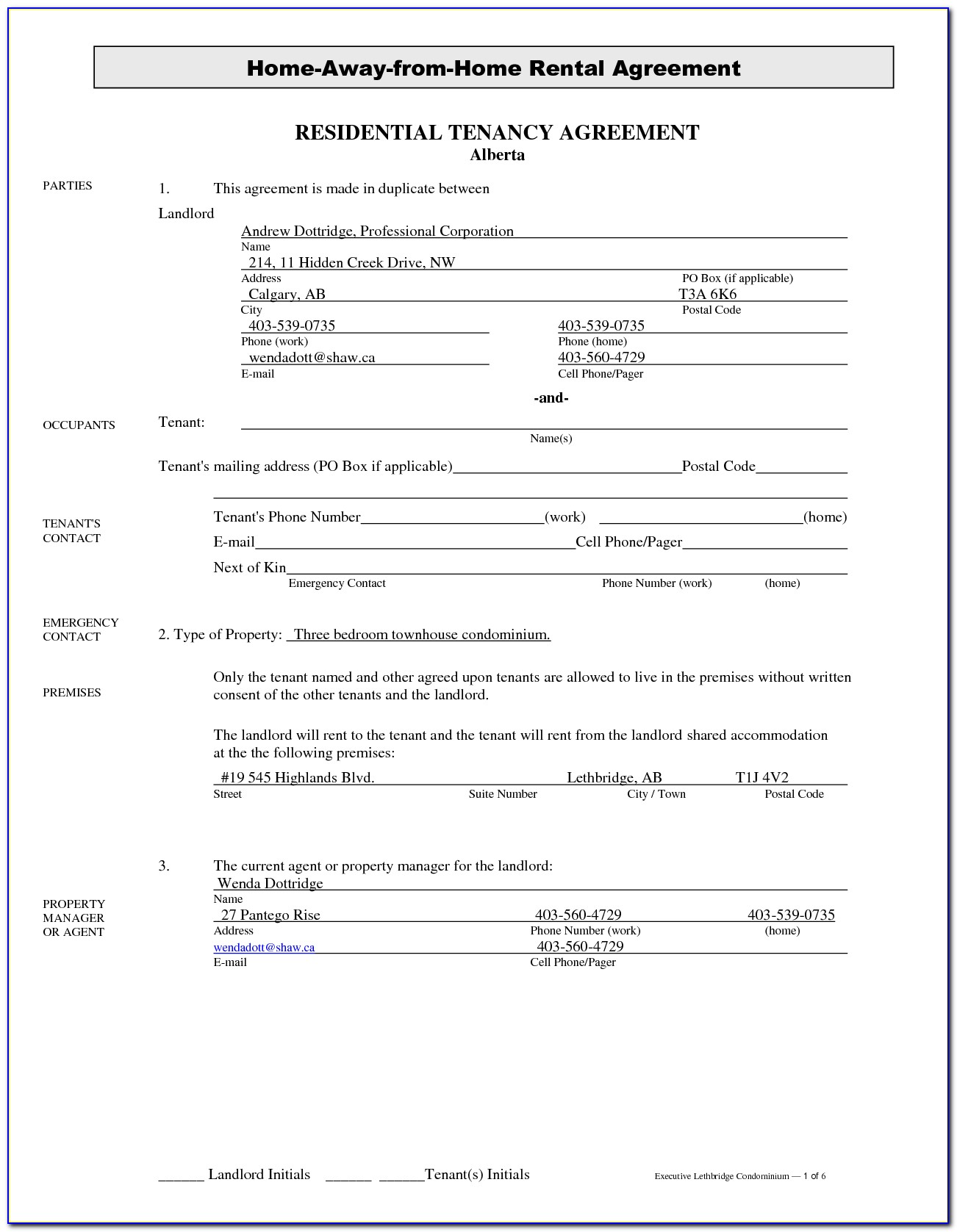 Alberta Tenancy Agreement Form