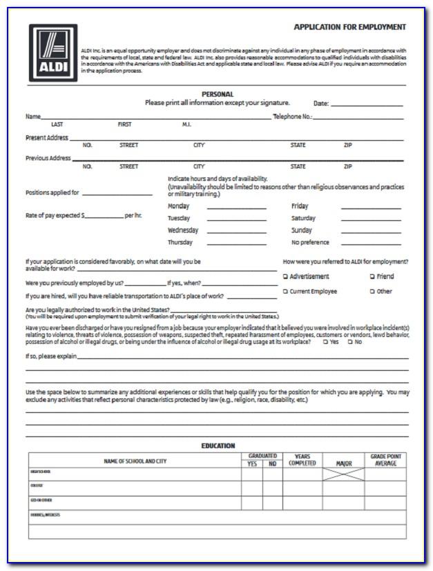 Aldi Job Application Form Answers