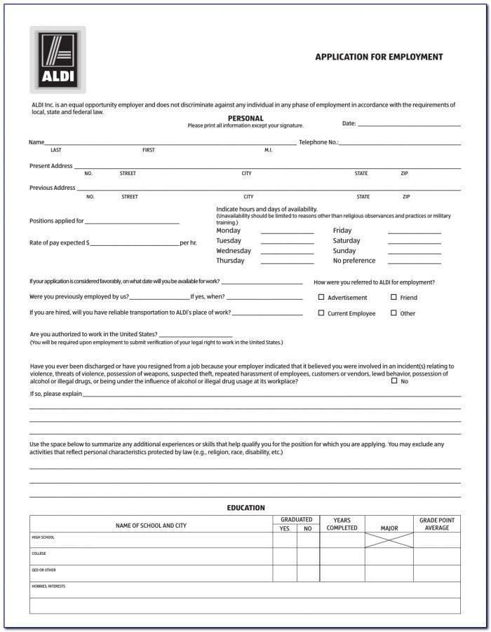 Aldi Jobs Application Form Download