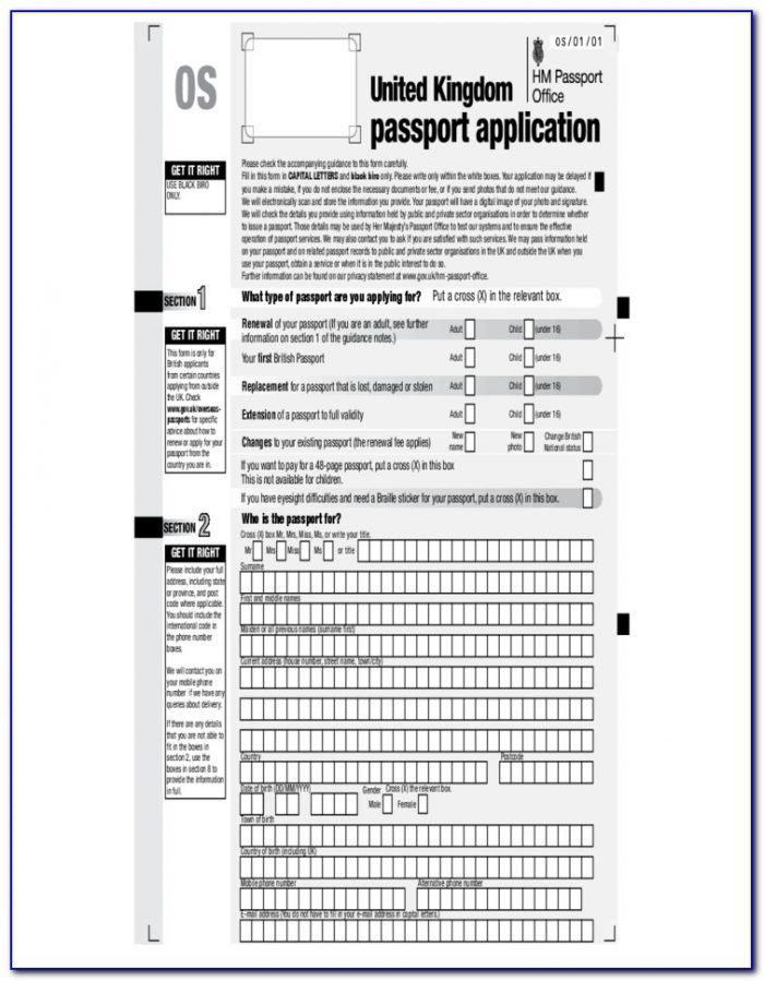Application Form For Passport Renewal South Africa