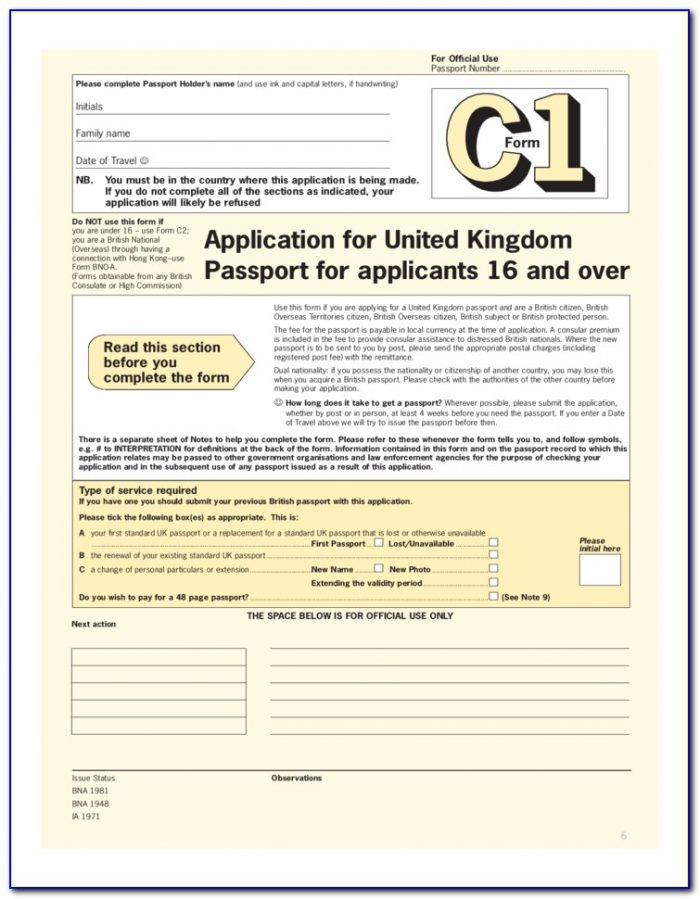 Application Form For Passport Renewal Uk