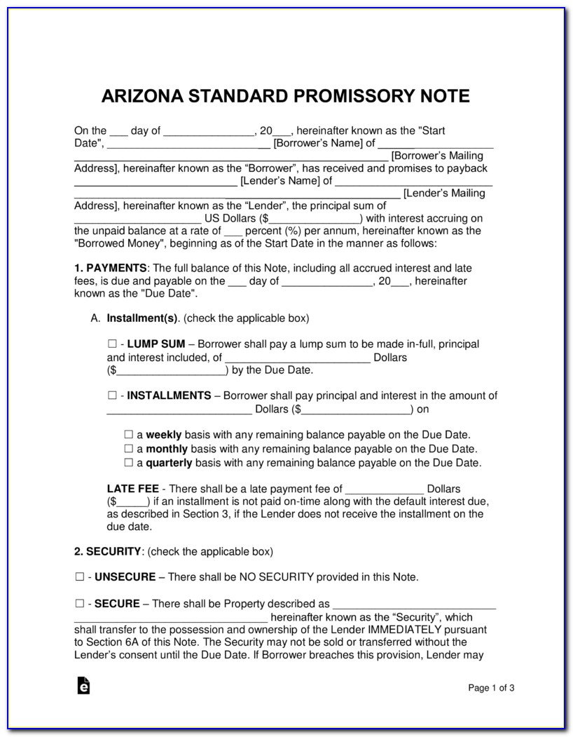 Arizona Promissory Note Form