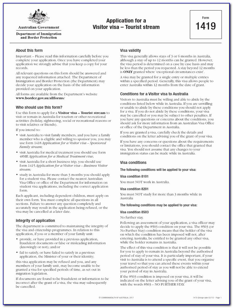 Australian Visitor Visa Application Form 1415 Inspirational Australia Visitor Visa Form 1419 Pdf