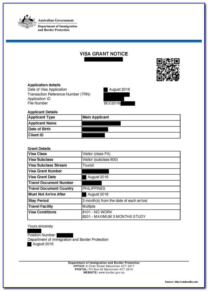 Australia Visitors Visa Application Form