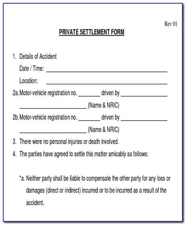 Auto Accident Claims Release Form