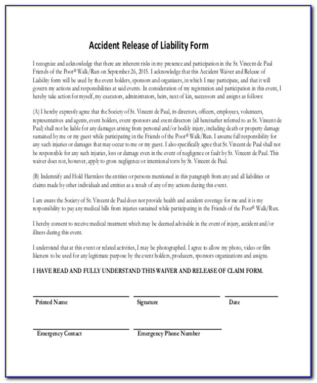Auto Accident Release Form Template
