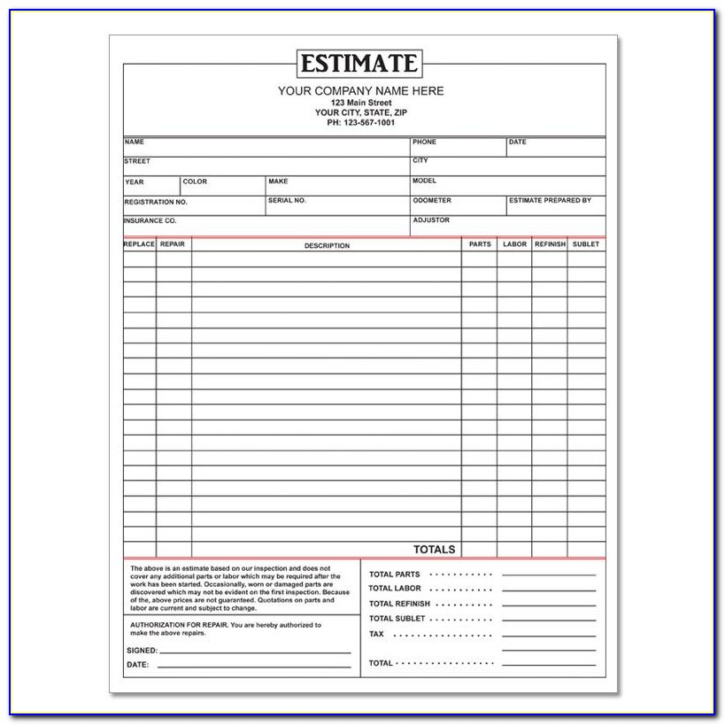 Auto Body Repair Estimate Form Pdf