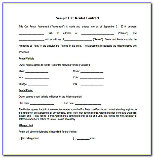 Auto Lease Forms Free