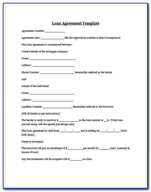Auto Loan Agreement Form Free Download