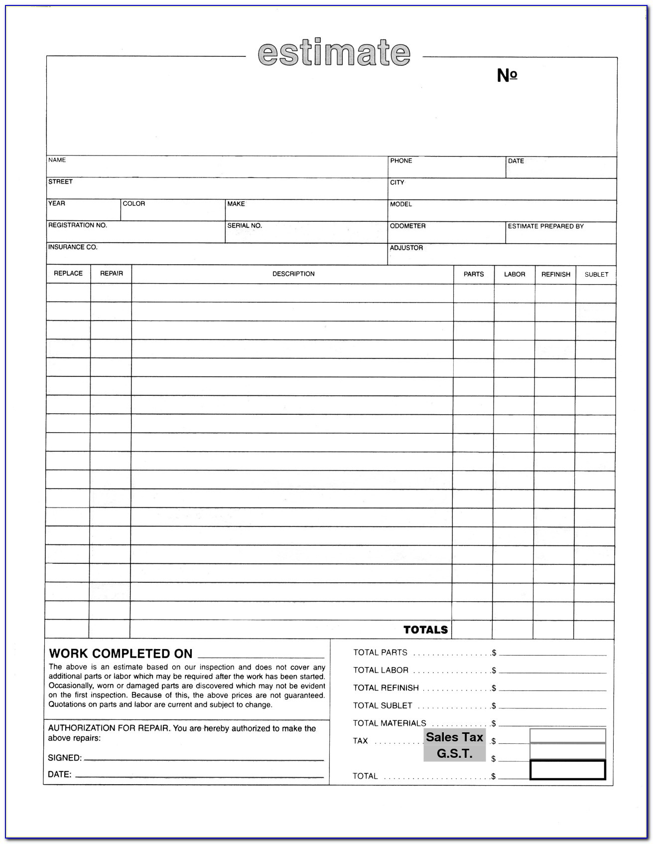 Auto Repair Estimate Form Excel