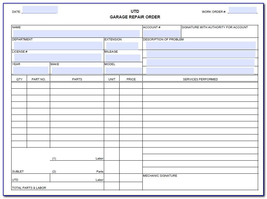Auto Repair Estimate Form Pdf