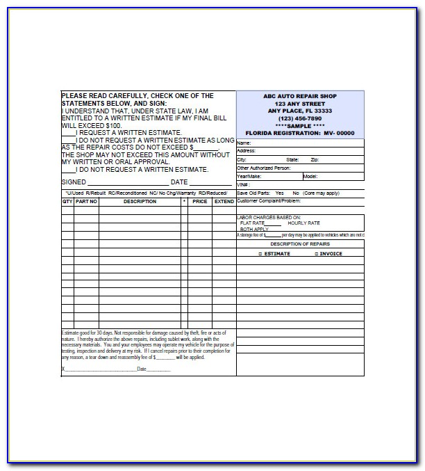 Auto Repair Forms Template Free