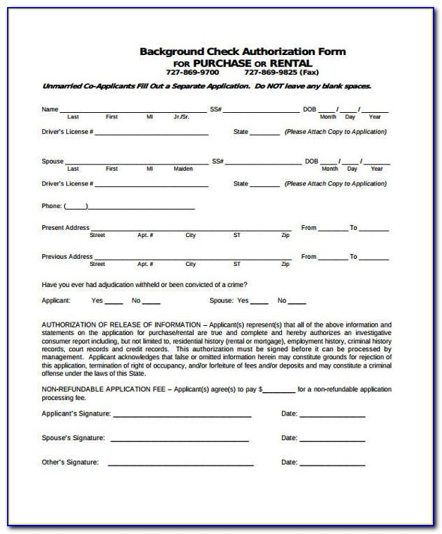 Background Check Consent Form For Renters