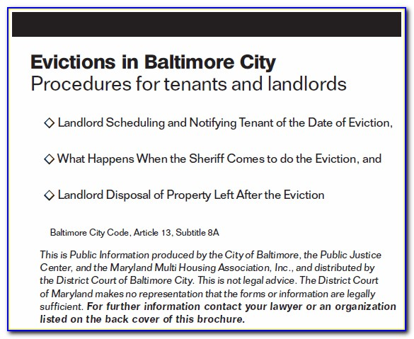 Baltimore City Eviction Notice Form