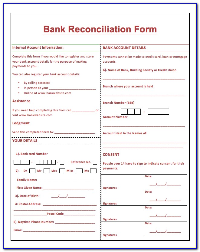 Bank Reconciliation Accounting Format
