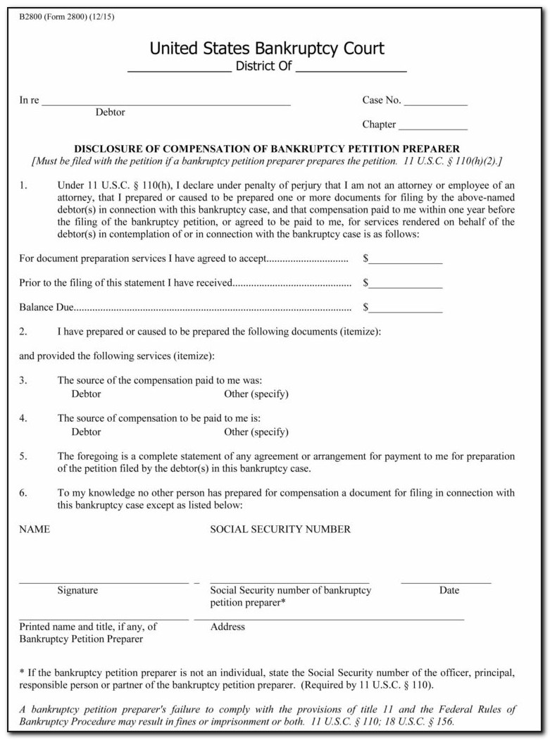 Bankruptcy Petition Forms Download