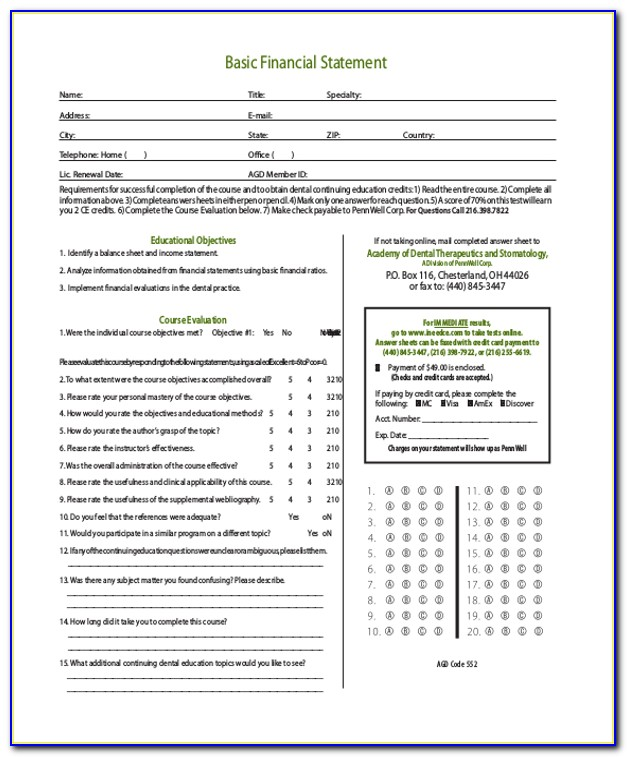 Basic Financial Statement Form