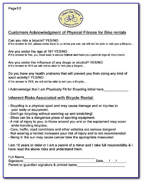 Bike Ride Waiver Form