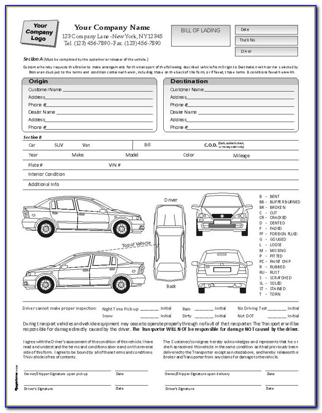 Bill Of Lading Form For Auto Transport