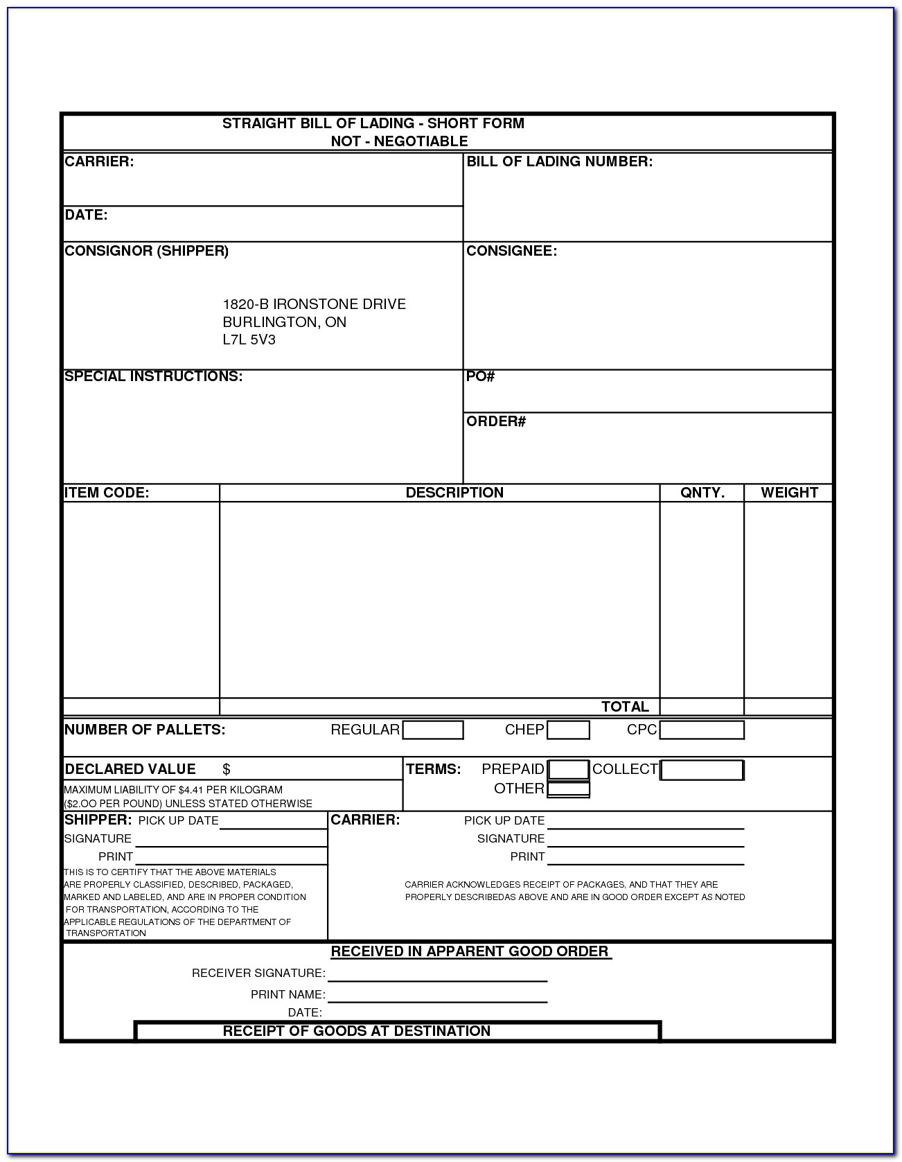Bill Of Lading Template Free Download
