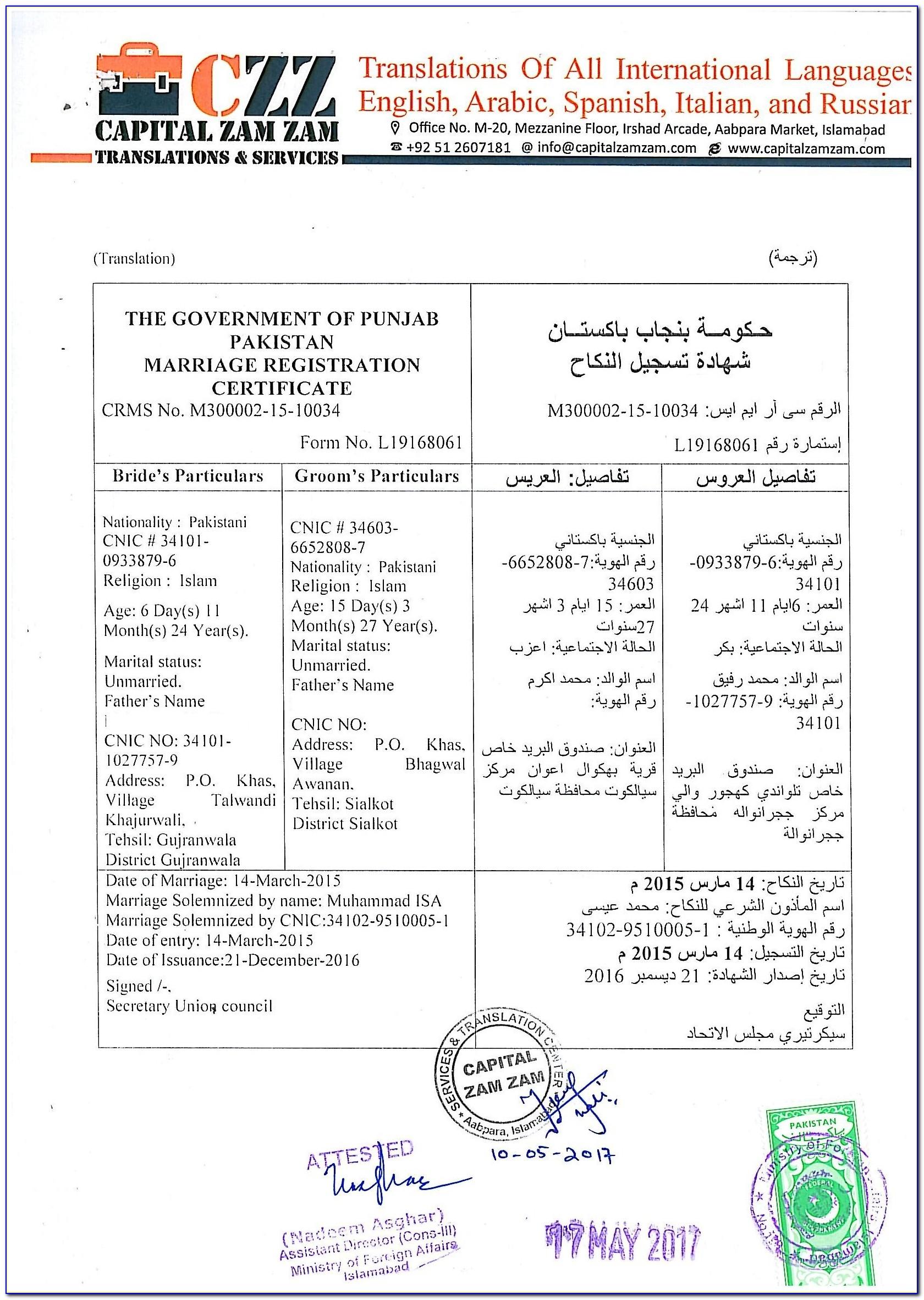 Birth Registration Form In Union Council Punjab Pdf