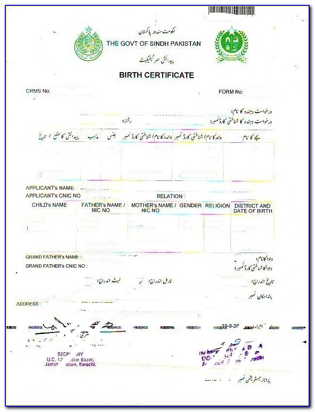 Birth Registration Form In Union Council Punjab