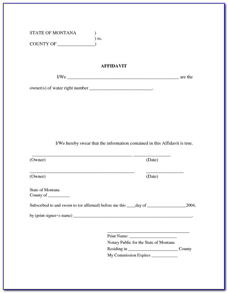 Blank Affidavit Form Free