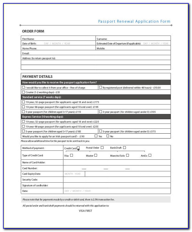 Blank Australian Passport Renewal Form