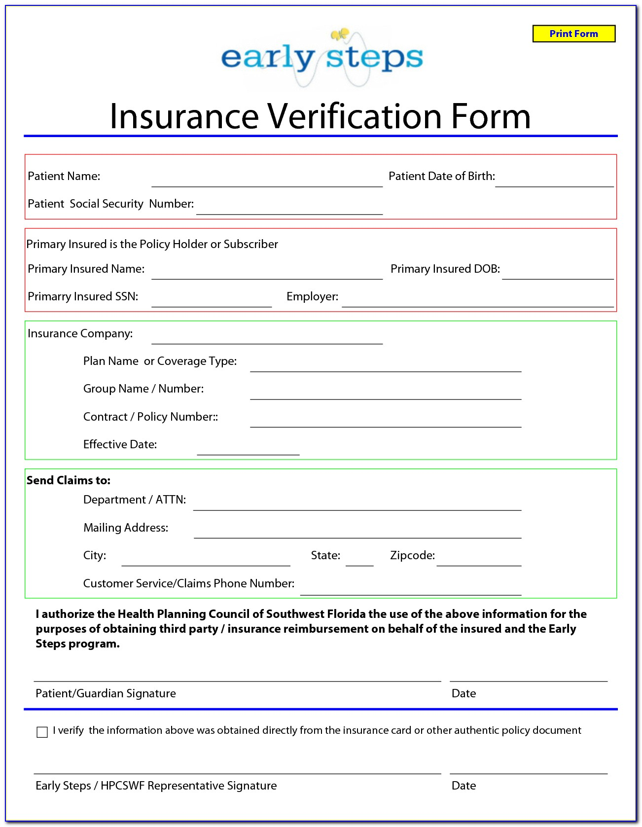 Blank Auto Insurance Forms