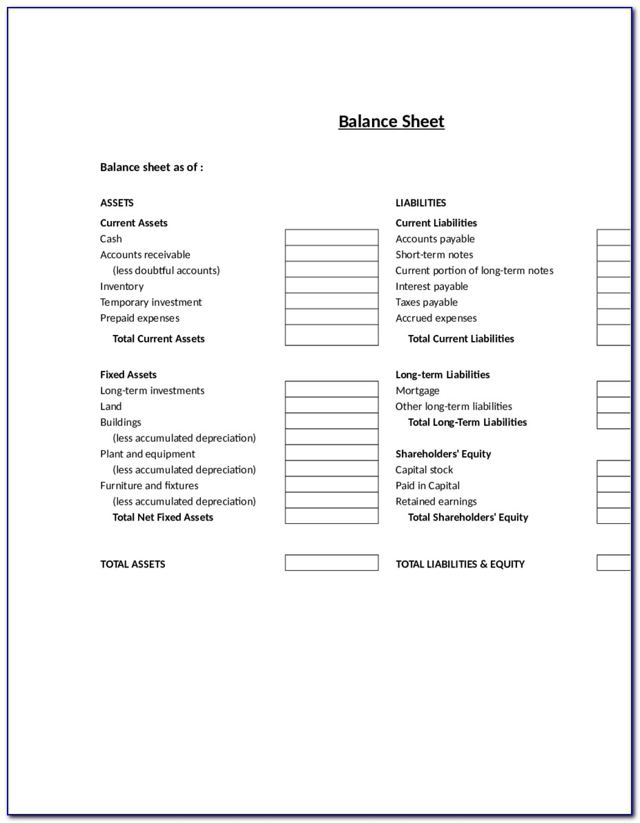 Blank Balance Sheet Format Pdf