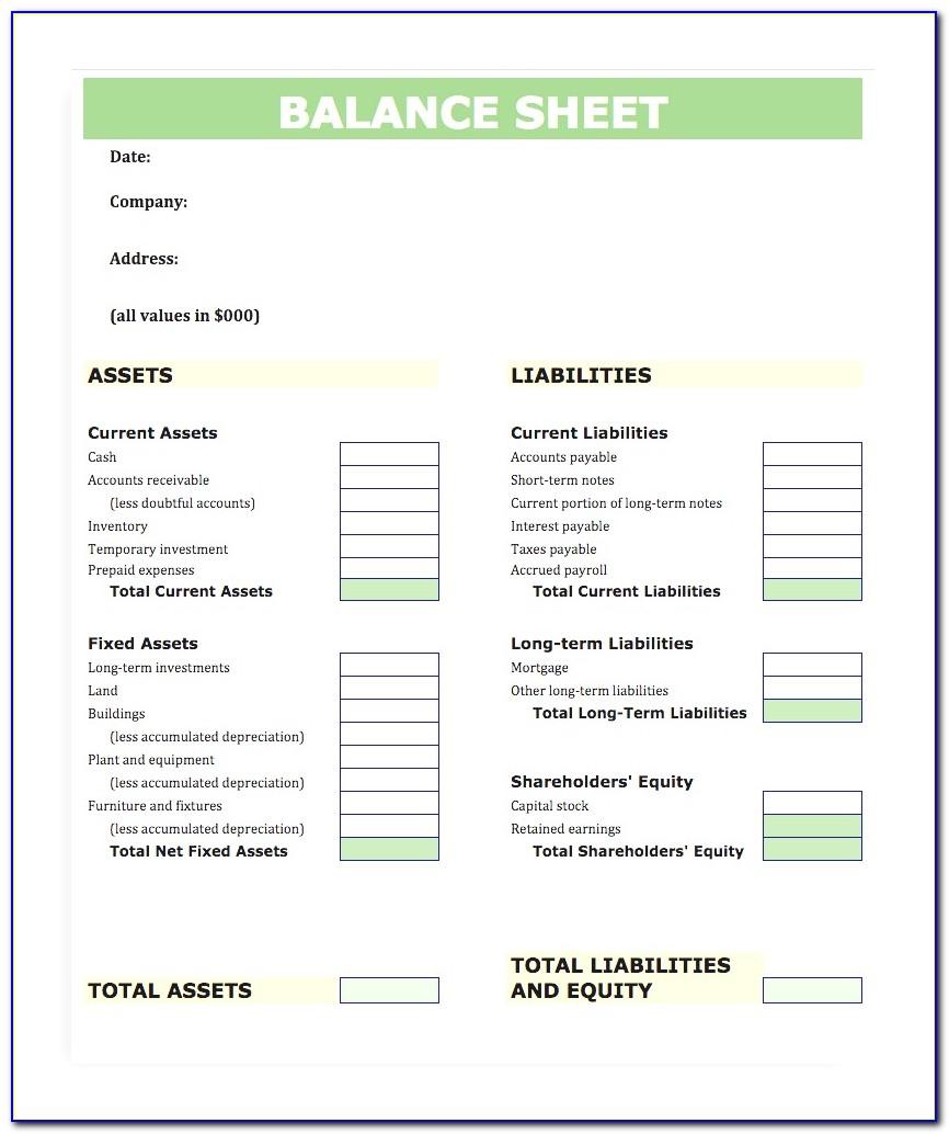 Blank Balance Sheet Sample