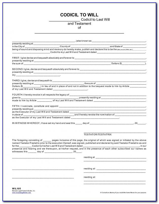 Blank Codicil Form Ontario