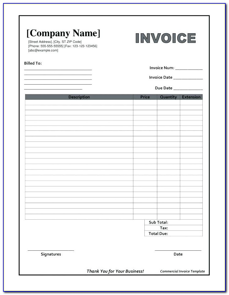 Blank Commercial Invoice Form Ups