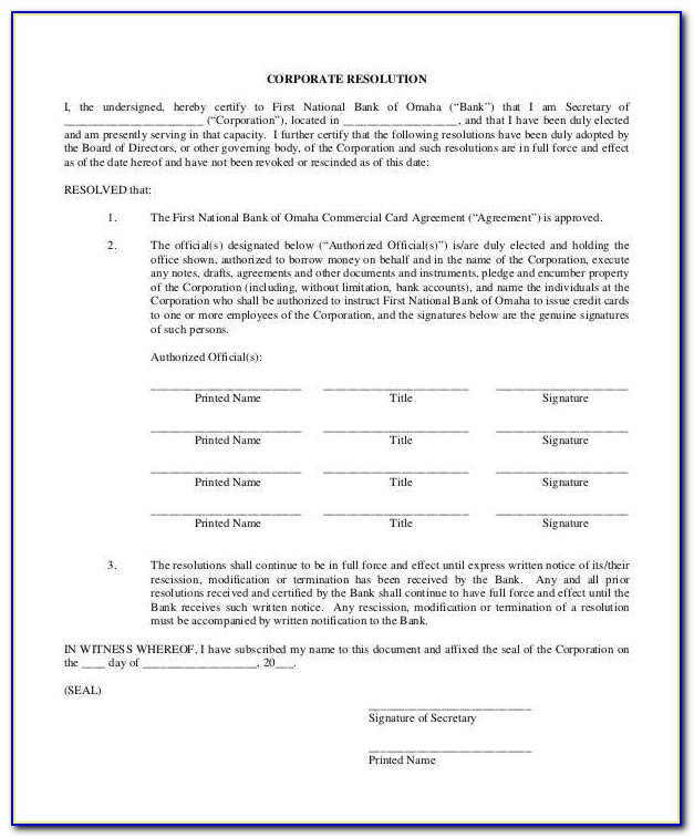 Blank Corporate Authorization Resolution Form