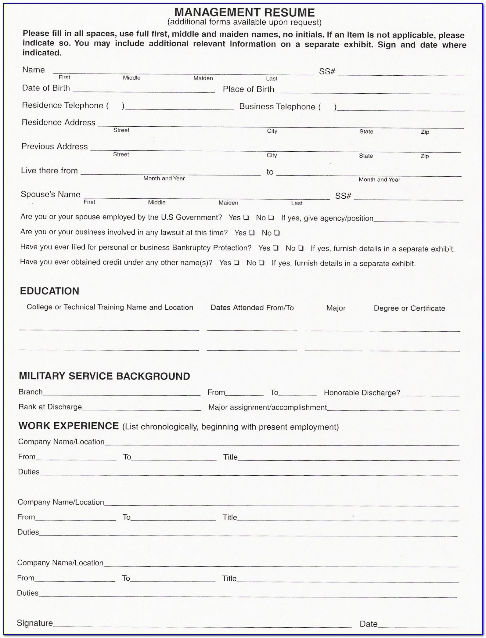 Blank Cv Form For Job Application