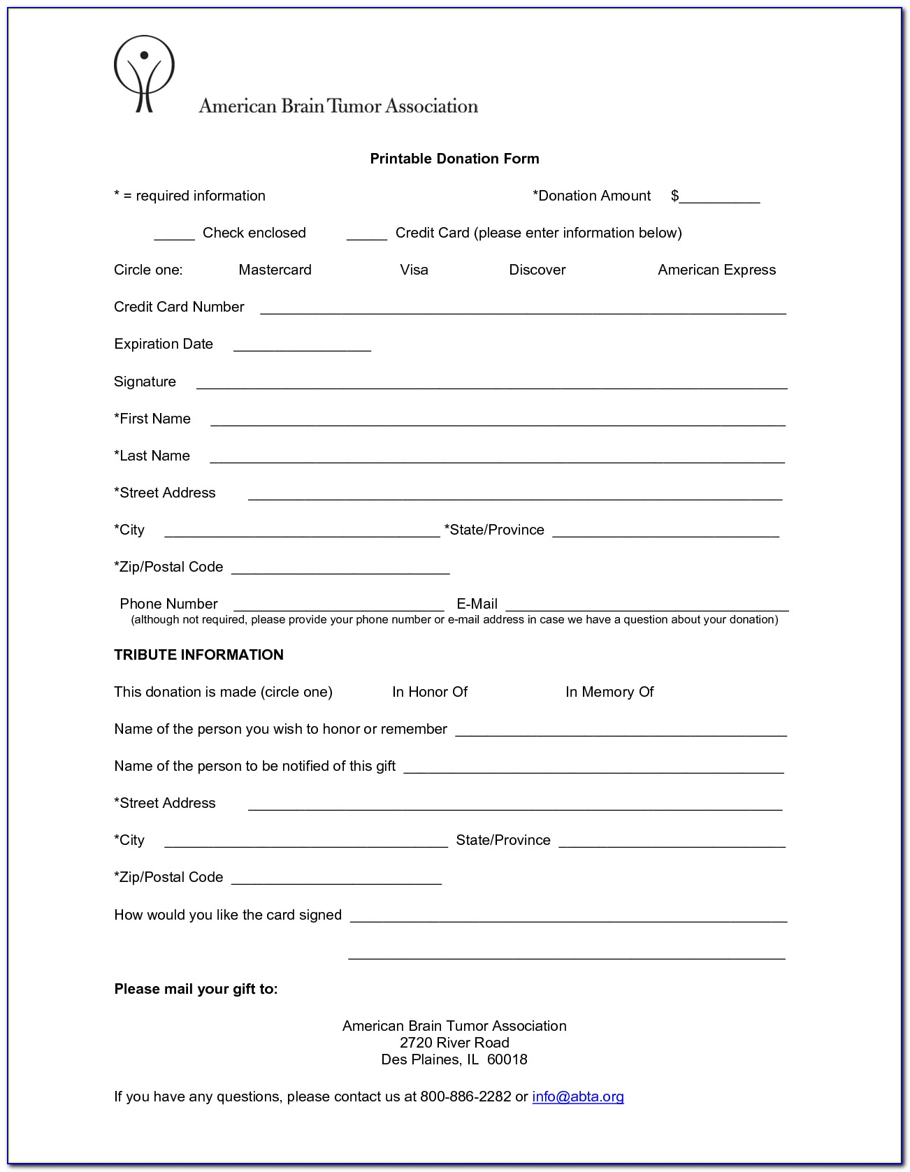 Blank Donation Receipt Form