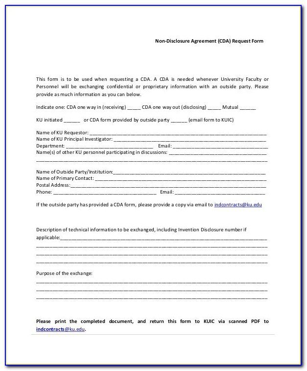 Blank Non Disclosure Agreement Form
