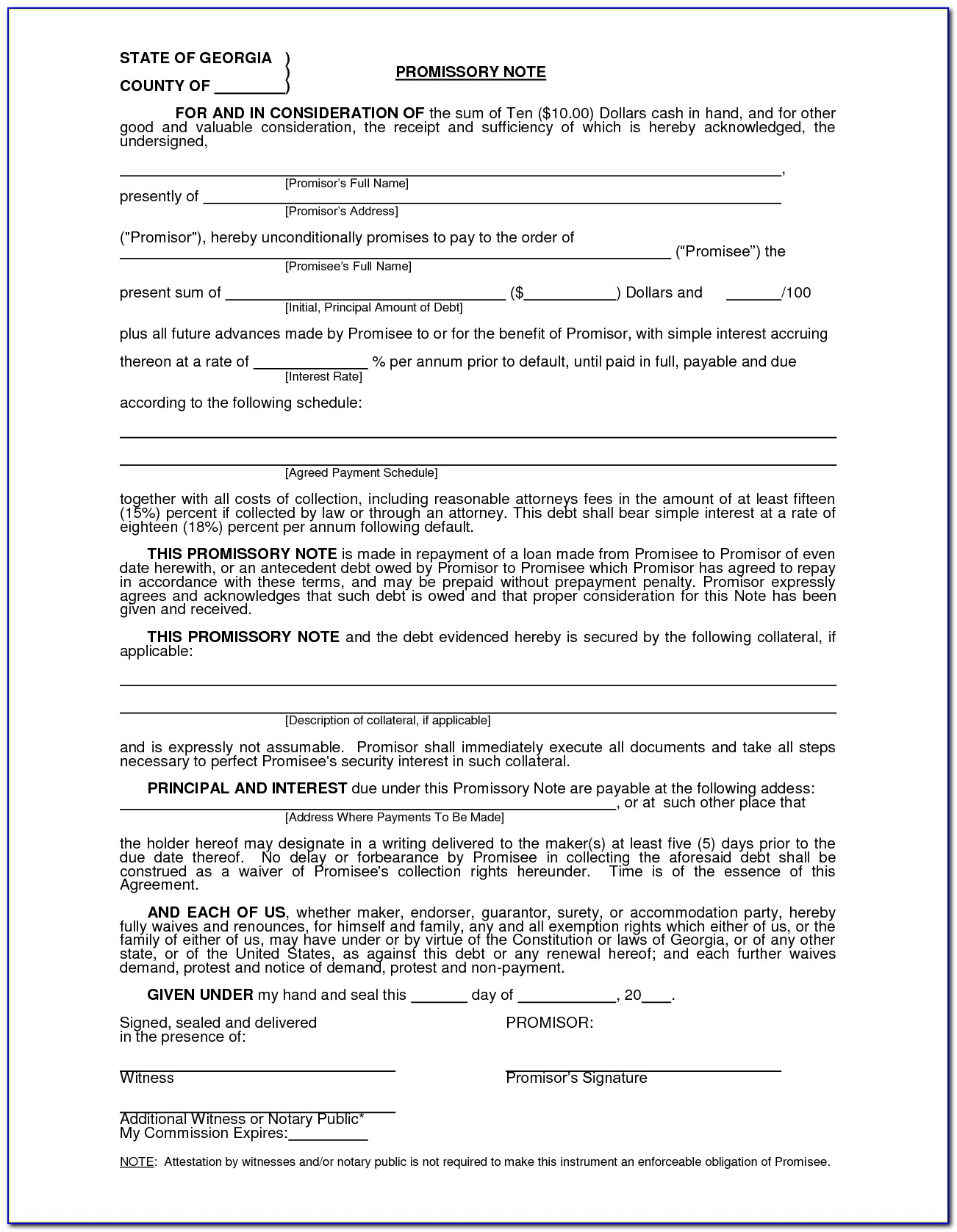 Blank Promissory Note Template Pdf