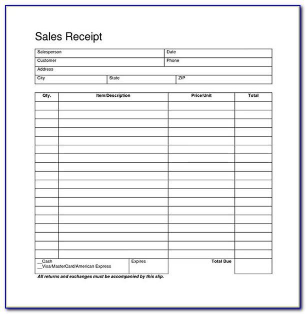 Blank Receipt Form Pdf