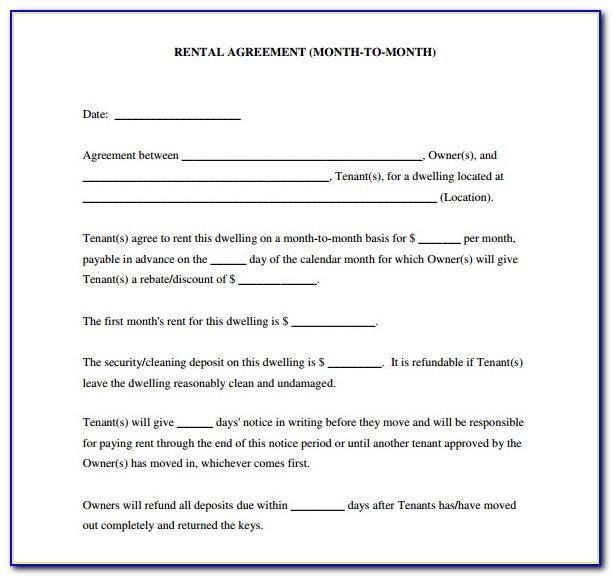 Blank Rental Agreements Forms Free