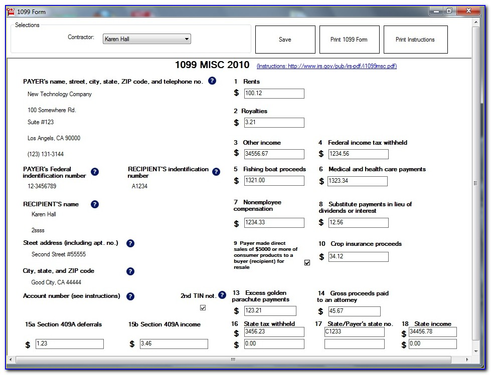 Blank W2 And 1099 Forms