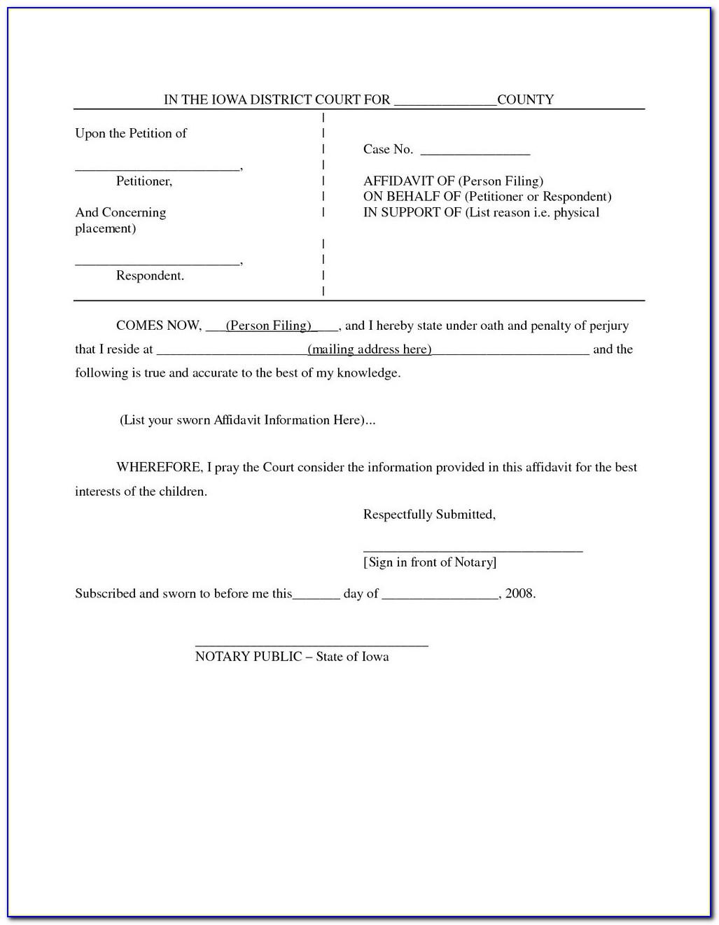 Blank Zimbabwe Affidavit Form