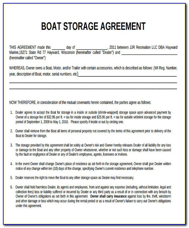 Boat Storage Rental Agreement Form