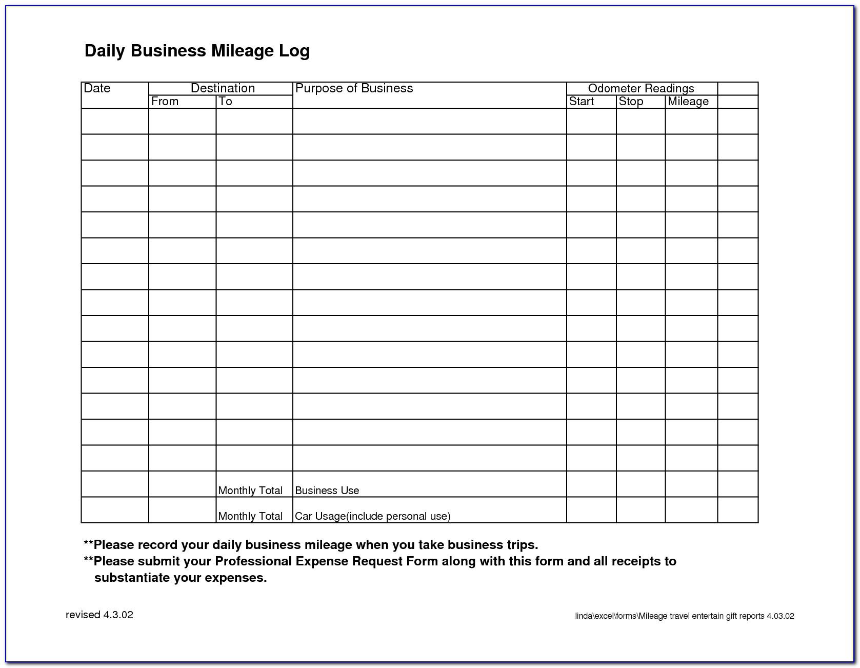 Business Mileage Record Template