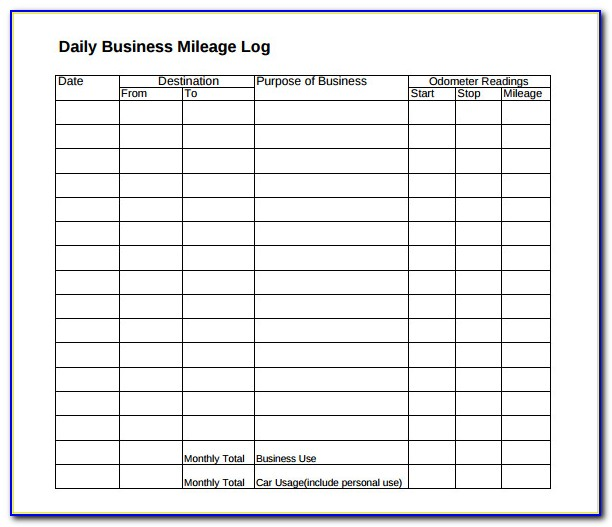 Business Mileage Tracking Form