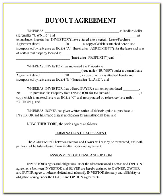 Buyout Agreement Form