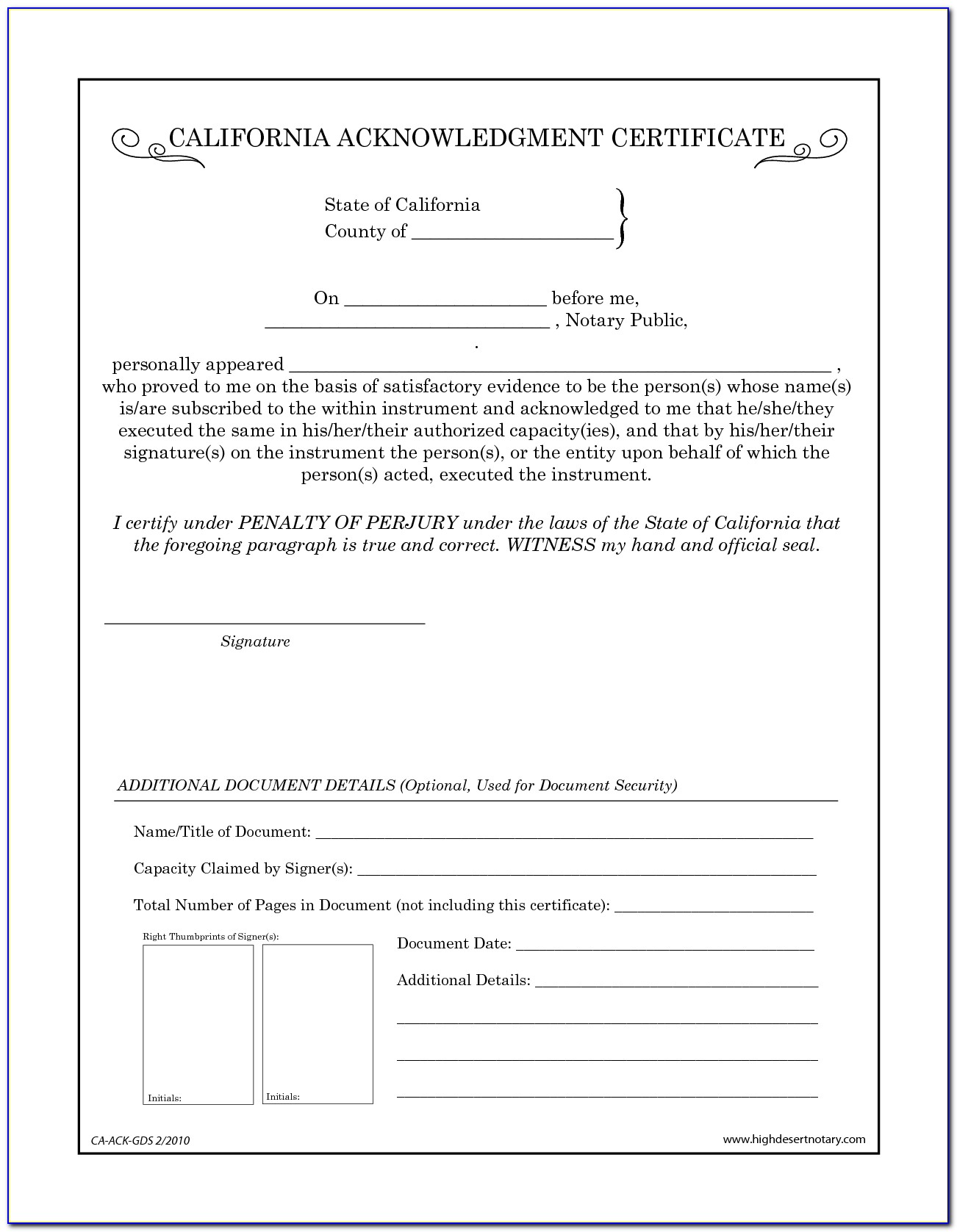Ca Notary Certificate Wording