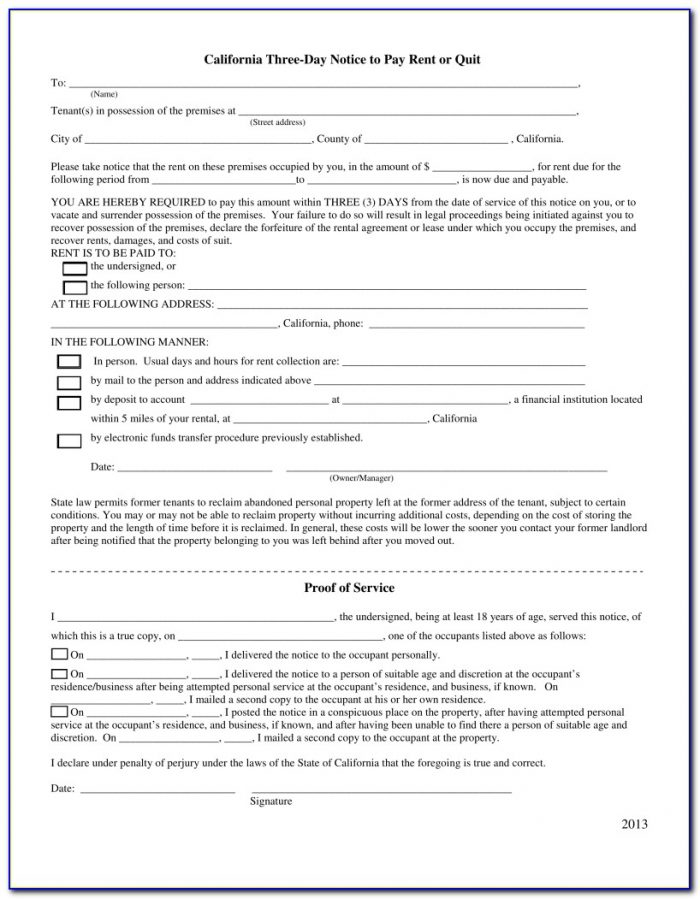 California 3 Day Notice To Pay Or Quit Form Pdf