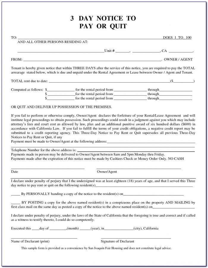 California 3 Day Notice To Pay Rent Or Quit Form